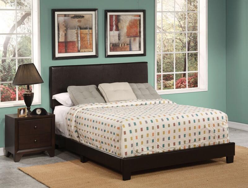 Acme 25750Q Lien espresso faux leather queen bed set