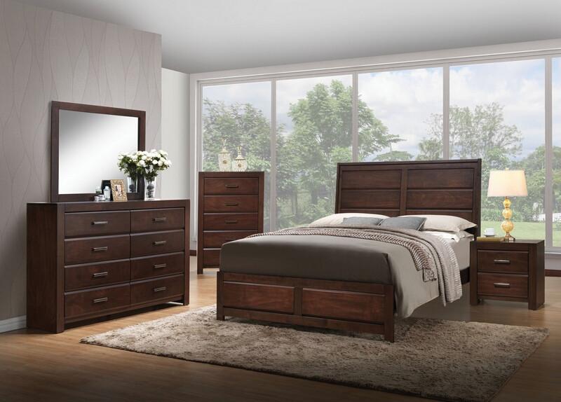 Acme 25790Q 5 pc oberreit walnut finish wood panel look queen bedroom set