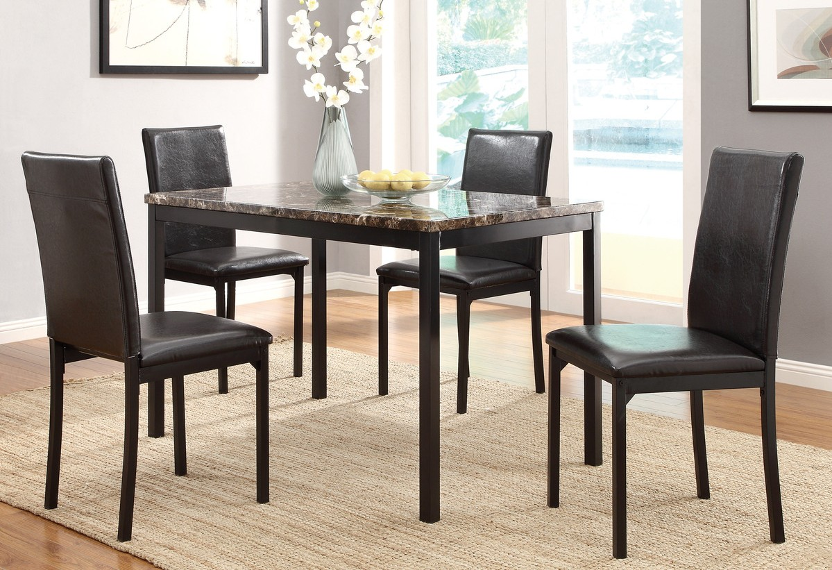 Homelegance HM2601-48 5 pc Mieres dark tone metal legs faux marble top dining table set