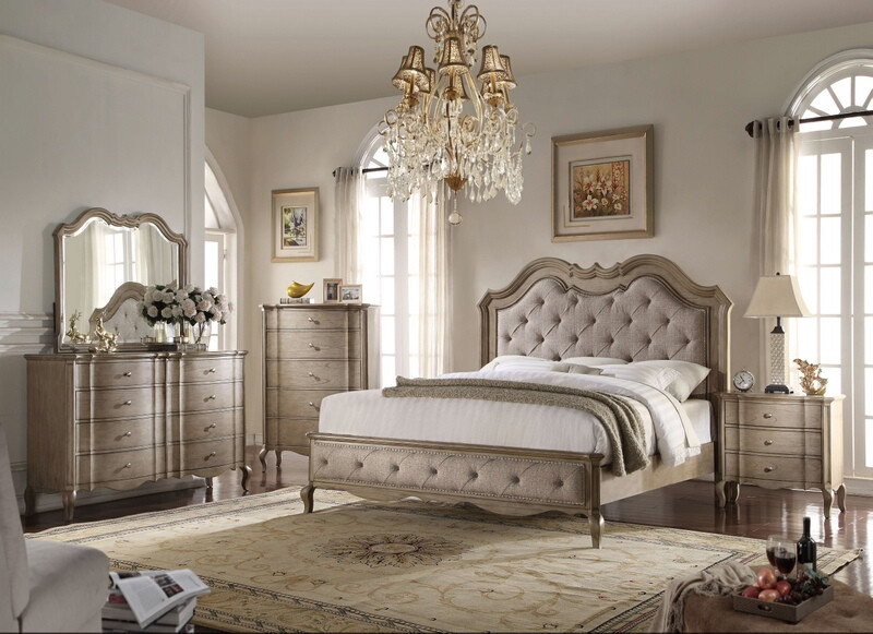 Acme 26050Q 5 pc chelmsford antique taupe finish wood beige fabric tufted queen bedroom set