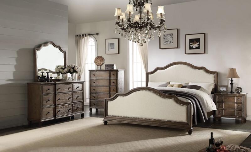 Acme 26110Q 5 pc baudouin weathered oak finish wood beige linen queen bedroom set