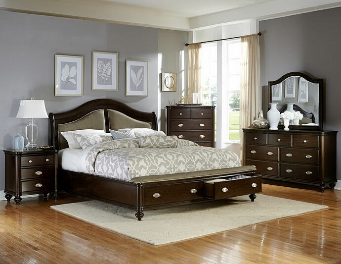 5 pc marston collection dark cherry finish wood with storage footboard drawers bedroom set