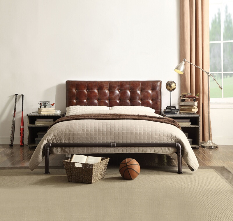 Acme 26210Q Brancaster vintage brown top grain leather tufted metal frame queen bed set