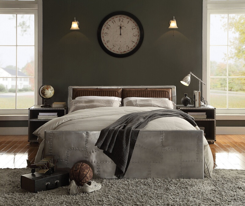 Acme 26220Q Brancaster Aluminum finish metal frame retro brown top grain leather queen bed set
