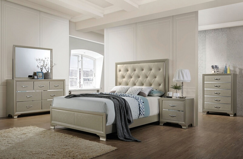 Acme 26240Q 5 pc carine champagne finish wood champagne faux leather queen bedroom set