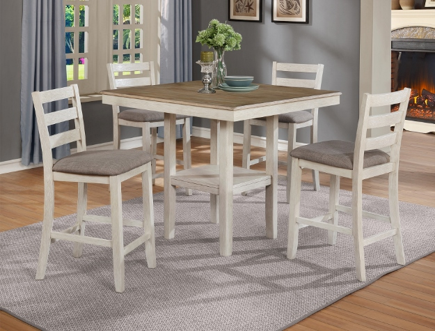 2630SET-WH 5 pc Gracie oaks two tone finish wood counter height dining table set