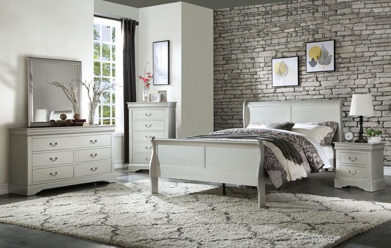 Acme 26700Q 5 pc louis philippe iii platinum finish wood queen sleigh bedroom set