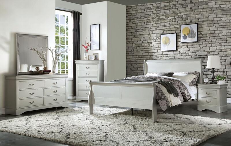 Acme 26730Q 4 pc louis philippe iii platinum finish wood sleigh queen bedroom set