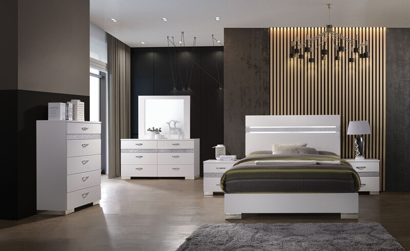 Acme 26770Q 5 pc Naima II white high gloss finish wood sparkling acrylic panel queen bedroom set