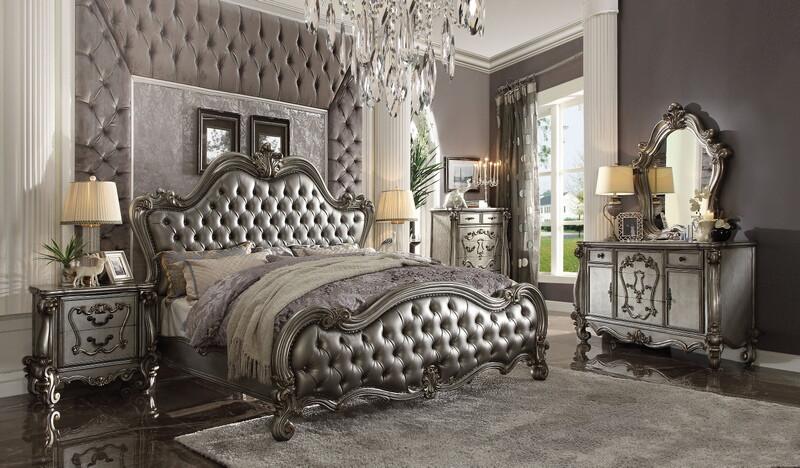 Acme 26840Q 5 pc Versailles II antique platinum finish wood queen bedroom set decorative carvings tufted accents
