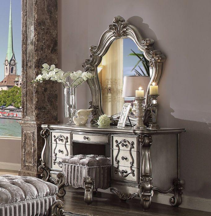 Acme 26847-48-44 3 pc Astoria grand welton versailles II antique platinum finish wood bedroom make up vanity
