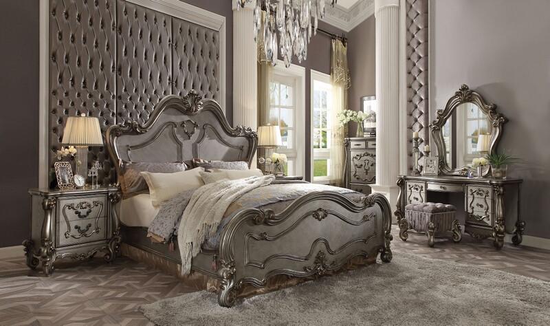 Acme 26860Q 5 pc Versailles antique platinum finish wood queen bedroom set decorative carvings tufted accents