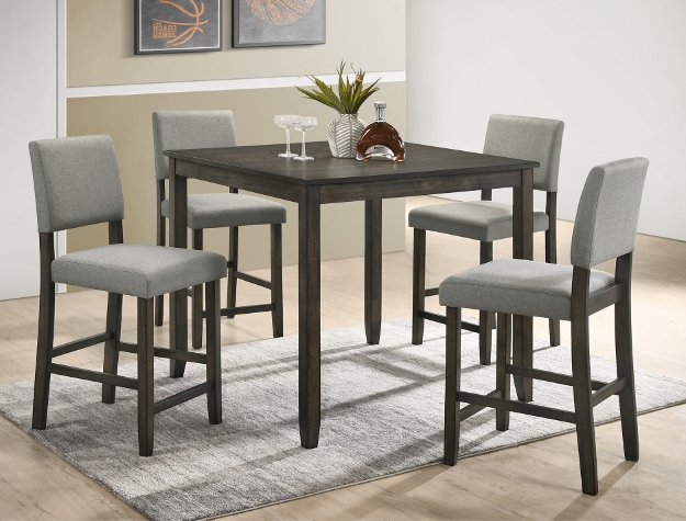 2708SET-GY 5 pc Gracie oaks derick grey finish wood counter height dining table set