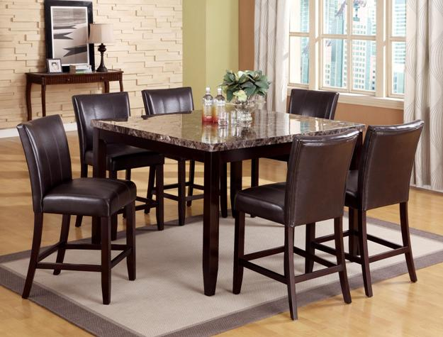 2721T-5454 7 pc Gracie oaks ferrara brown marble top wood counter height dining table set