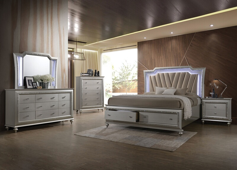 Acme 27230Q 5 pc Kaitlyn champagne finish wood LED lighted queen bedroom set
