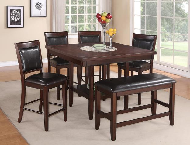 6 pc Fulton collection brown wood finish counter height dining table set with lazy susan