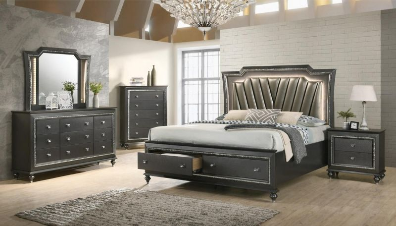 5 pc Kaitlyn metallic gray finish wood and leatherette padded queen bedroom set