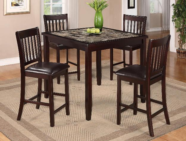 2740SET 5 pc Gracie oaks cascade brown finish wood counter height dining table set