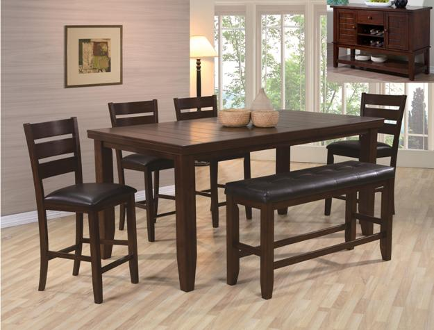 Crown Mark 2752T-4278-6PC 6 pc bardstown dark wood finish counter height dining table set with bench