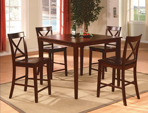 2753SET-ESP 5 pc Gracie oaks henderson espresso finish wood counter height dining table set
