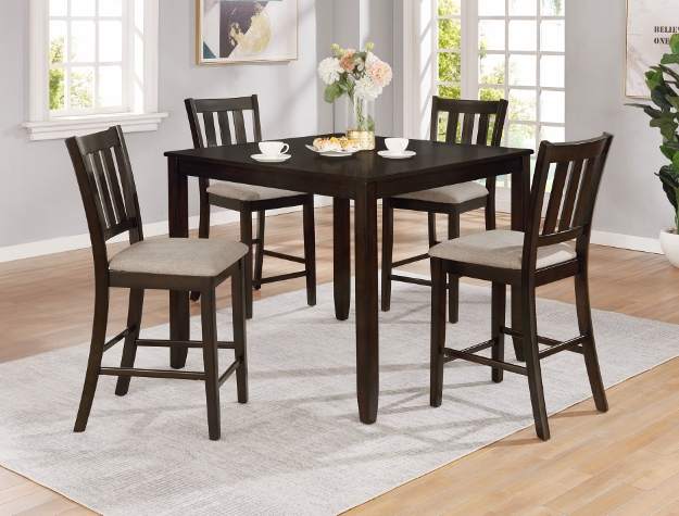 2762SET-CHAR 5 pc Gracie oaks charcoal finish wood counter height dining table set