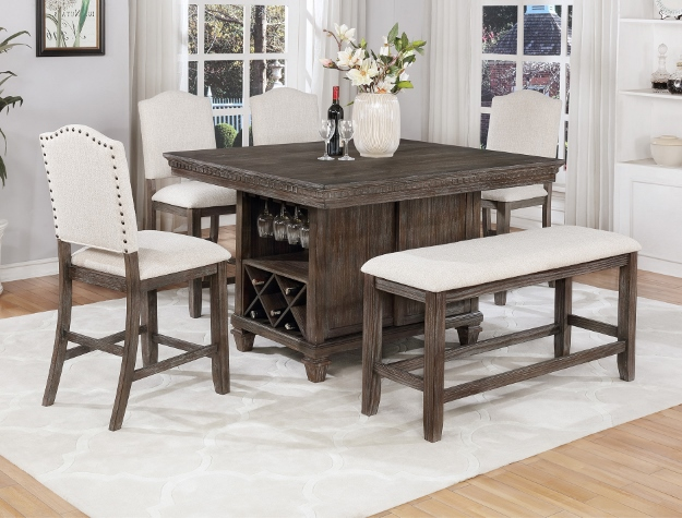 2772T-4854 6 pc Regent weathered grey finish wood counter height dining table set