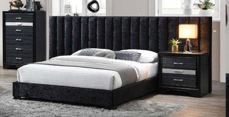 Acme 27760Q Rosdorf park rivas black fabric queen bed tufted wide headboard