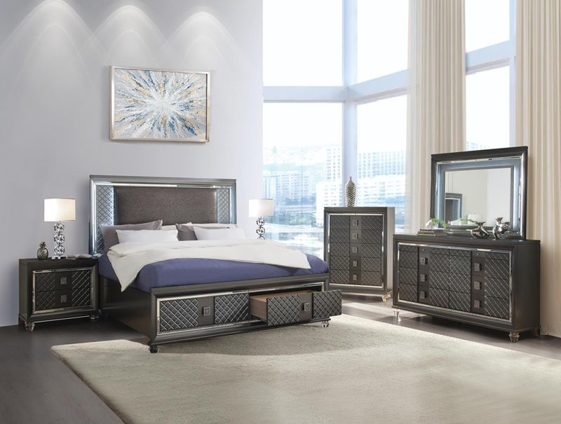 5 pc Sawyer metallic gray finish wood leatherette padded queen bedroom set