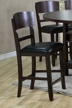 Set of 2 dark wood finish counter height bar stools with vinyl padded seats