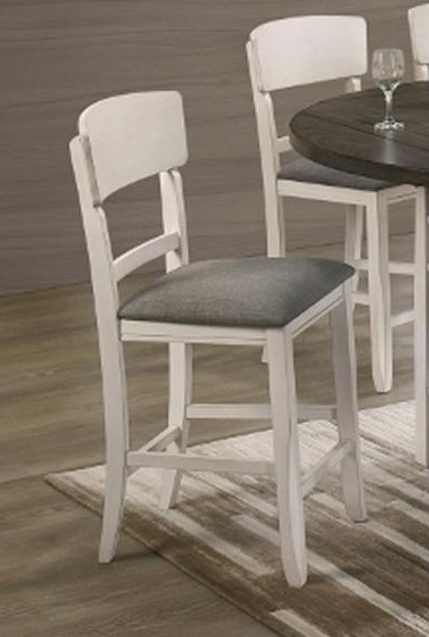 2849CG-S Set of 2 chalk white and grey wood finish counter height bar stools