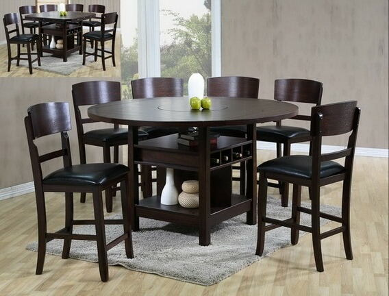 7 pc conner dark wood finish round dining table set with vinyl upholstered chairs