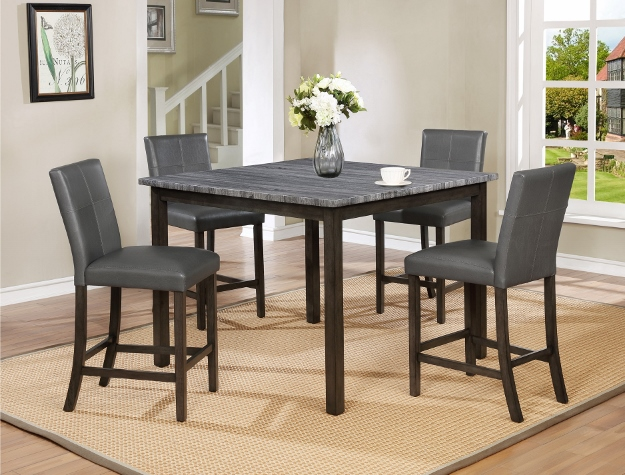 2877-4848 5 pc Gracie oaks pompei faux marble top wood counter height dining table set with grey chairs