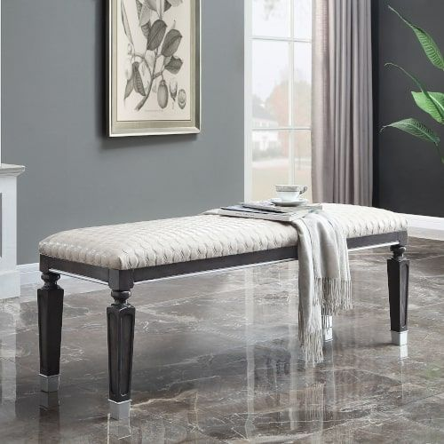 Acme 28817 House beatrice two tone beige fabric and charcoal and light gray wood finish bedroom bench