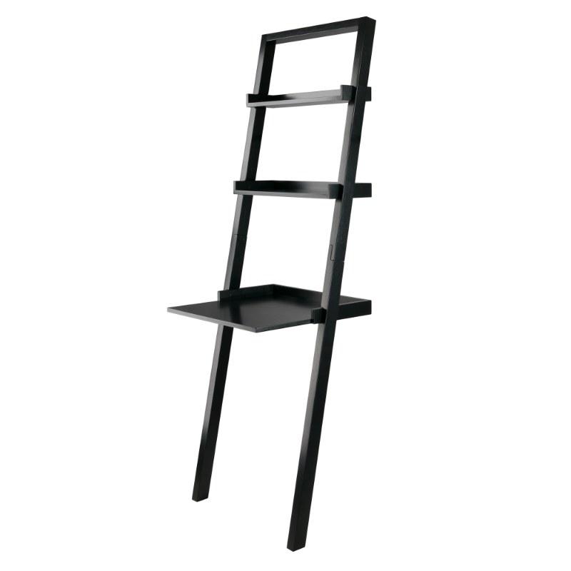 29323 Bellamy Leaning Desk with 2 Shelves, Black