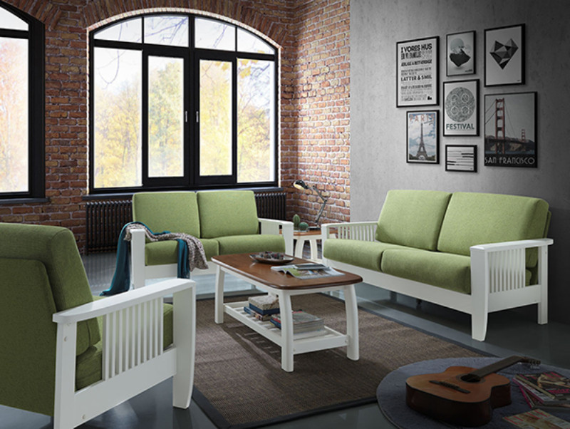 Asia Direct 2941-GN 2 pc white finish wood arm sofa and love seat set with green fabric upholstery