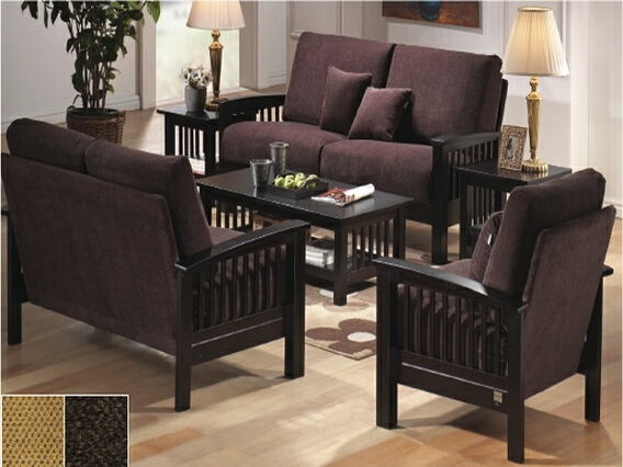 Asia Direct 2950 2 pc antique espresso finish wood arm sofa and love seat set with peat chenille fabric upholstery