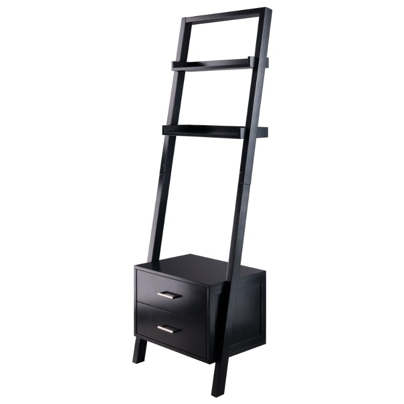 29522 Bellamy Leaning Shelf with Storage, Black