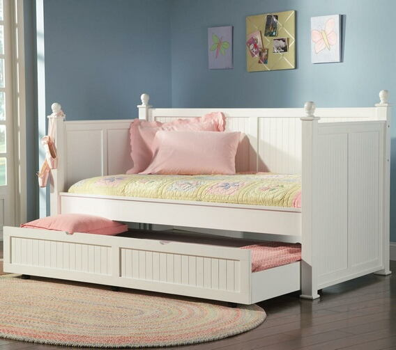 White semi gloss finish wood day bed with slide out trundle