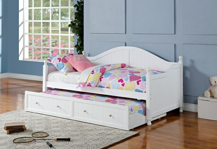 2 pc brisha collection traditional style white finish wood panel style day bed with trundle
