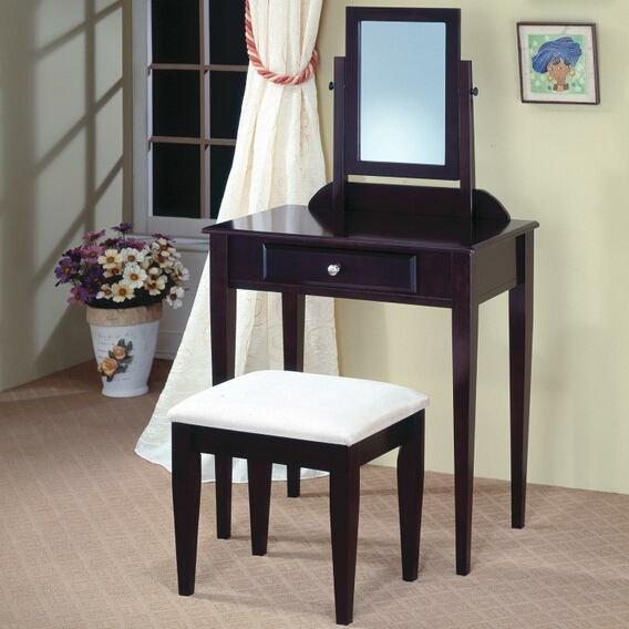 300079 Espresso finish wood 3 pc bedroom vanity makeup set