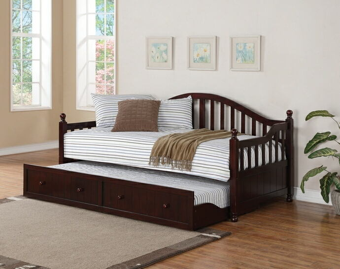 2 pc brisha collection traditional style black finish wood slatted back style day bed with trundle