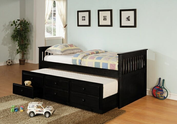 300104 Darby home co smotherman 2 pc la salle ii transitional style black finish wood captains day bed with trundle with drawers