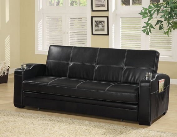 Black colored leather like vinyl upholstered folding sofa bed with tufted back and seat with cup holders in arms