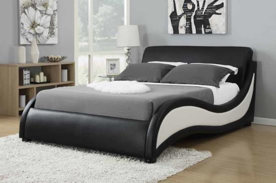 Niguel collection black and white faux leather upholstered queen bed set