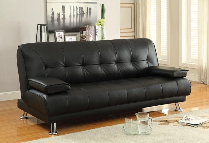 300205 Wildon home braxton black vinyl folding futon sofa bed with removable arms