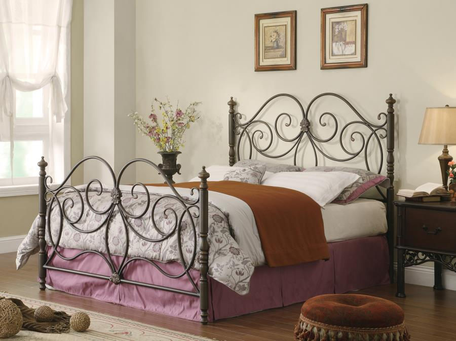 300258Q London dark bronze finish metal queen headboard and footboard set