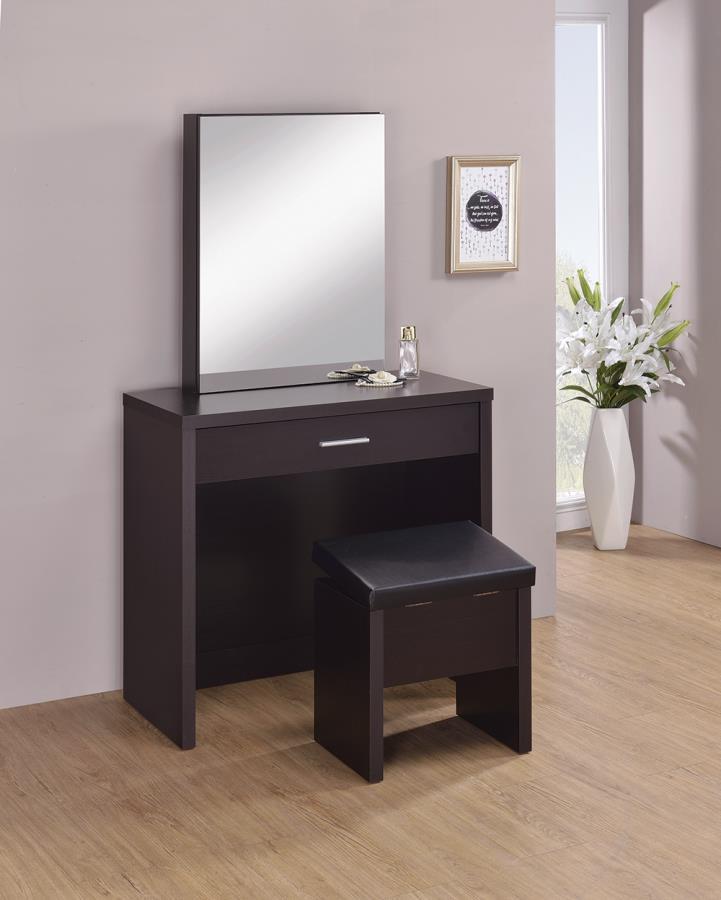 300289 Latitude run nydia 3 piece glossy espresso finish wood make up vanity set with storage mirror and storage stool