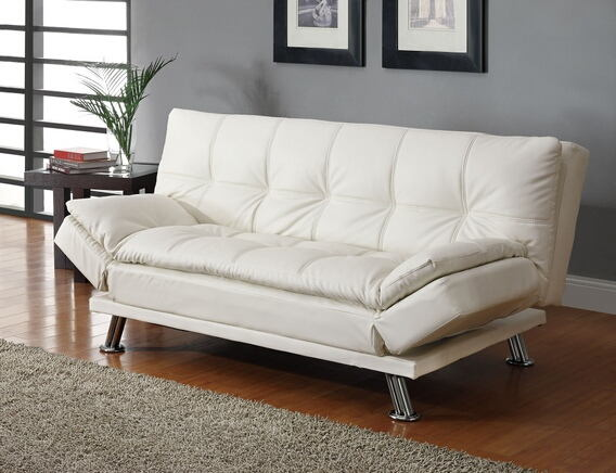 300291 White finish leather like vinyl folding futon sofa bed with chrome finish legs