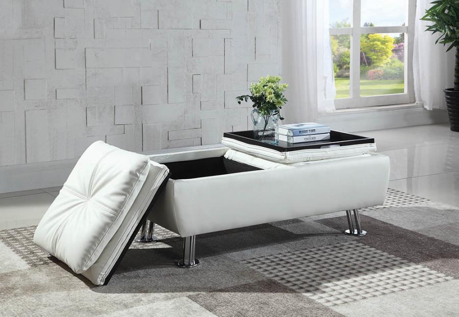 300293 Latitude run bente white faux leather storage ottoman with flip top trays and chrome finish legs