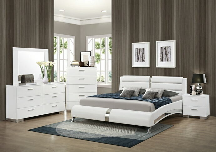 5 pc felicity ii collection contemporary style glossy white and chrome finish wood queen bedroom set with paneled headboard
